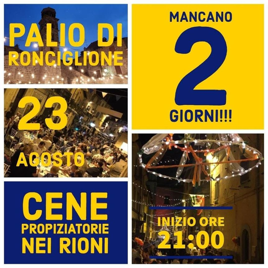 Corse a Vuoto Ronciglione: Oggi 23/08 Cene propiziatorie nei 9Rioni