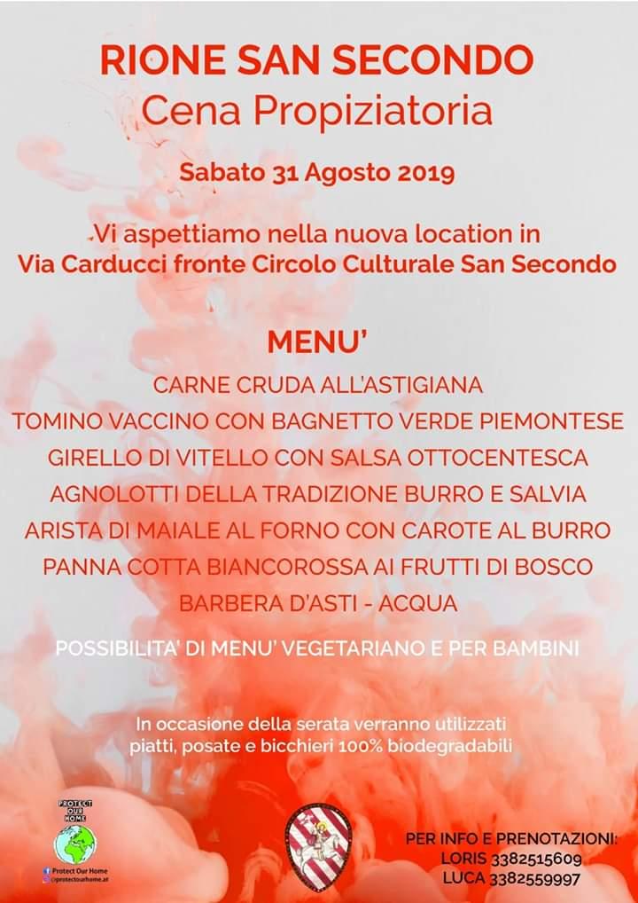 Palio di Asti, Comitato Palio San Secondo: 31/08 Cena Propiziatoria Palio2019