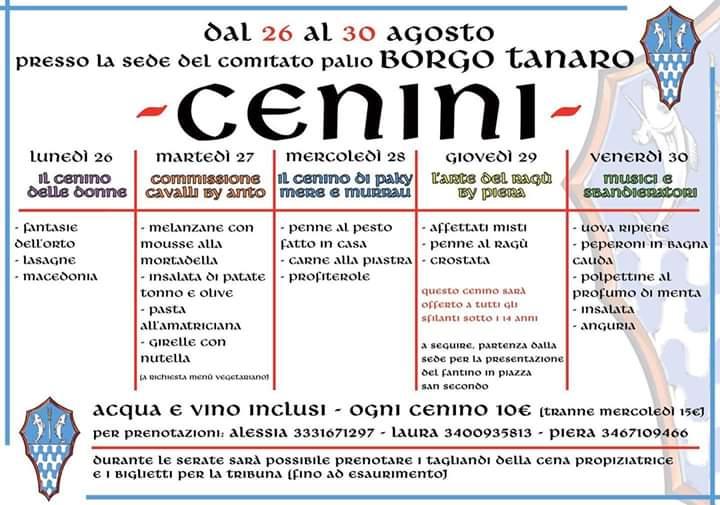 """Palio di Asti, Comitato Palio Borgo Tanaro-Trincere-Torrazzo: 26-30/08 """"Cenini Palio2019"""""""
