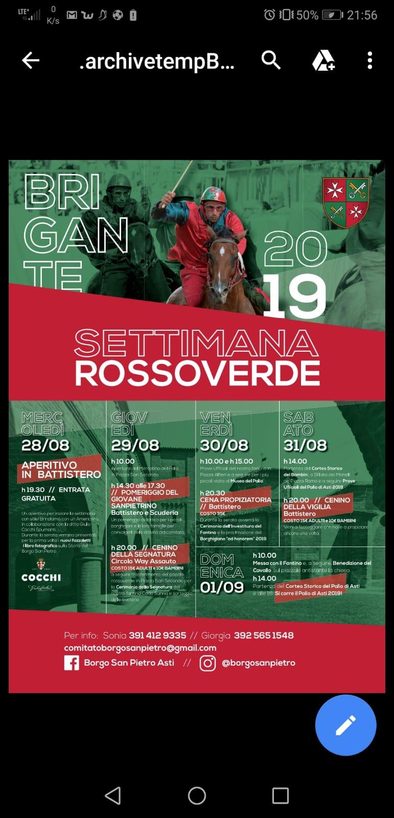 Palio di Asti, Borgo San Pietro:28/08-01/09 Ecco il progamma della Settimana Rossoverde2019