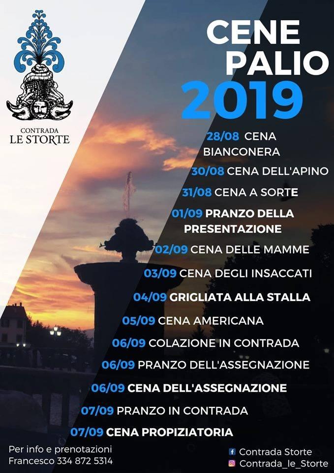 Palio di Castel del Piano, Contrada Le Storte: 28/08-07/09 Cene Palio2019