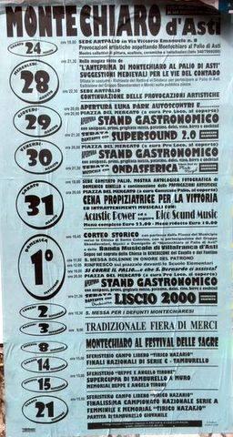 Palio di Asti, Comitato Palio Montechiaro: Appuntamenti dal 24/08 al21/09