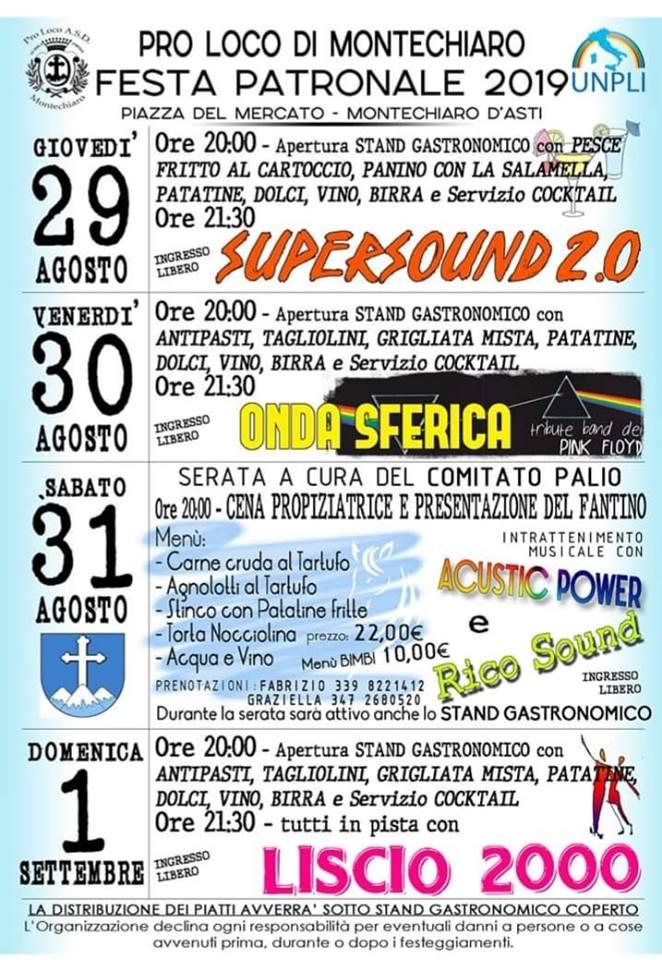 Palio di Asti, Comitato Palio Montechiaro: 29/08-01/09 Settimana Palio 2019 – Festa Patronale2019