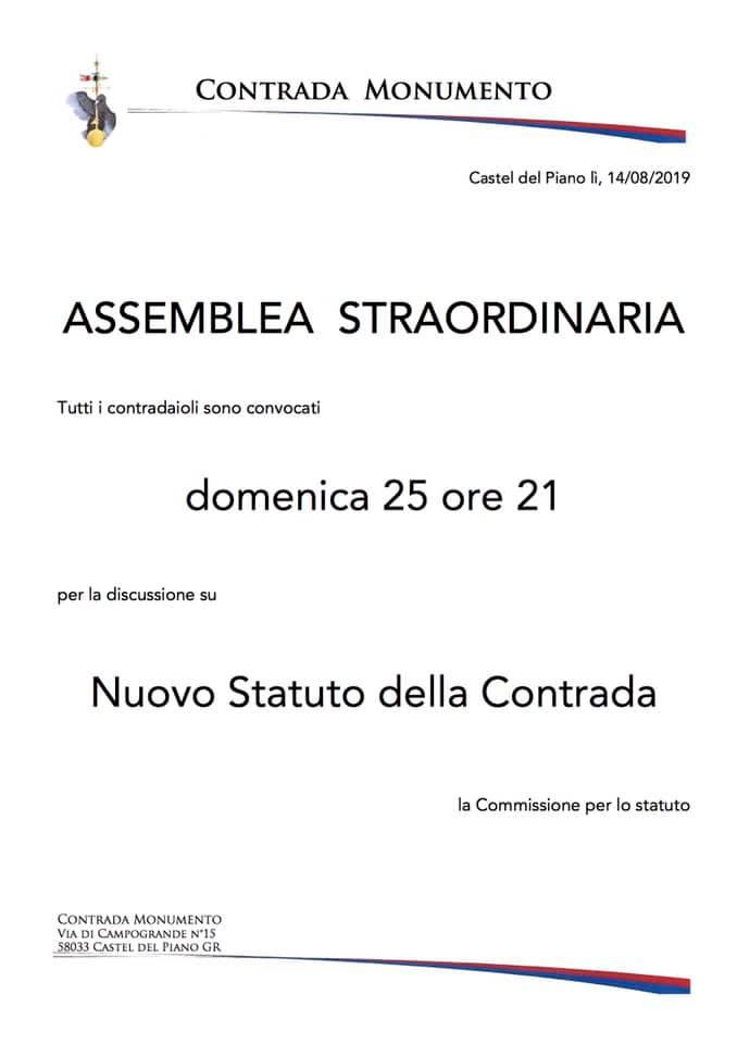 palio di Castel del piano, Contrada Monumento: 25/08 AssembleaStraordinaria