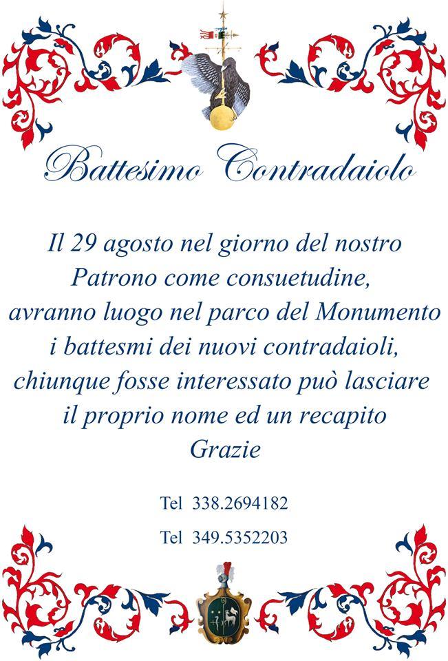 Palio di Castel del Piano, Contrada Monumento: Oggi 29/08  dalle ore 17.30 BattesimoContradaiolo