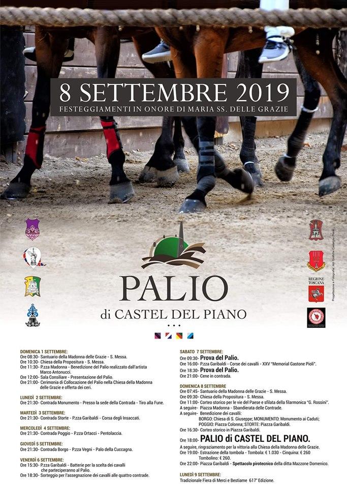 Palio di Castel del Piano: 01-08/09 Programma Palio2019