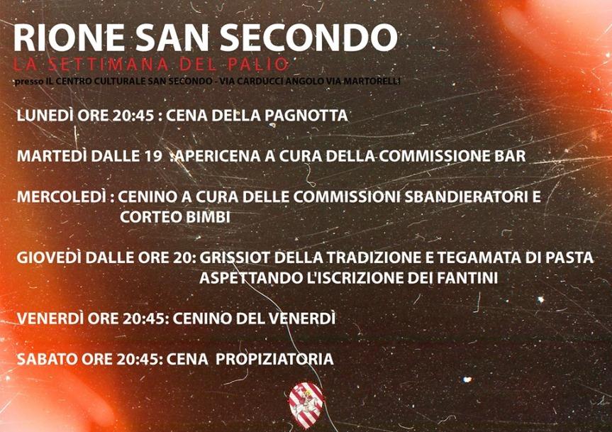 """Palio di Asti, Rione San Secondo: 25-31/08 """" Settimana Biancorossa"""""""