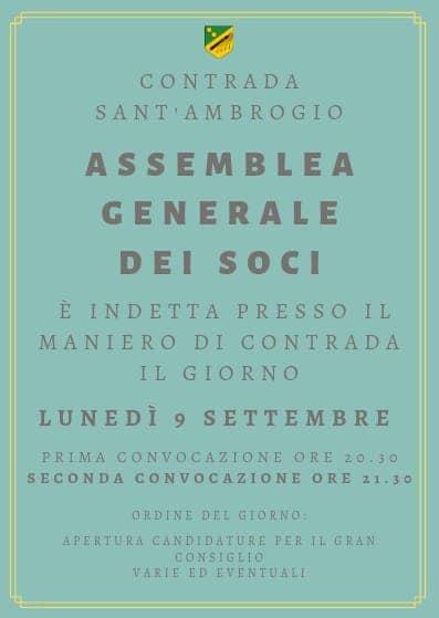 Palio di Legnano, Contrada Sant'Ambrogio: 09/09 Assemblea Generale deiSoci