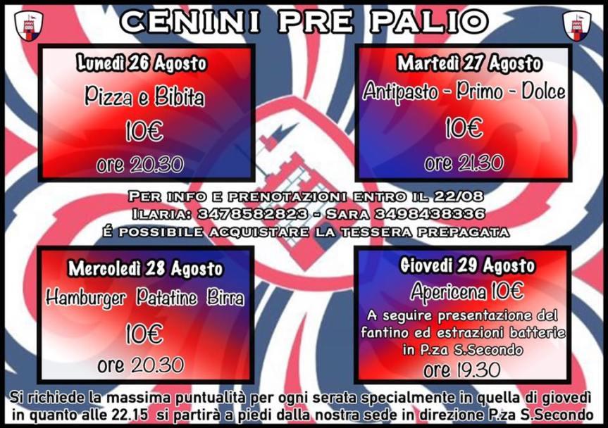 Palio di Asti,  Comitato Palio Borgo Torretta: Programma Settimana del Palio2019