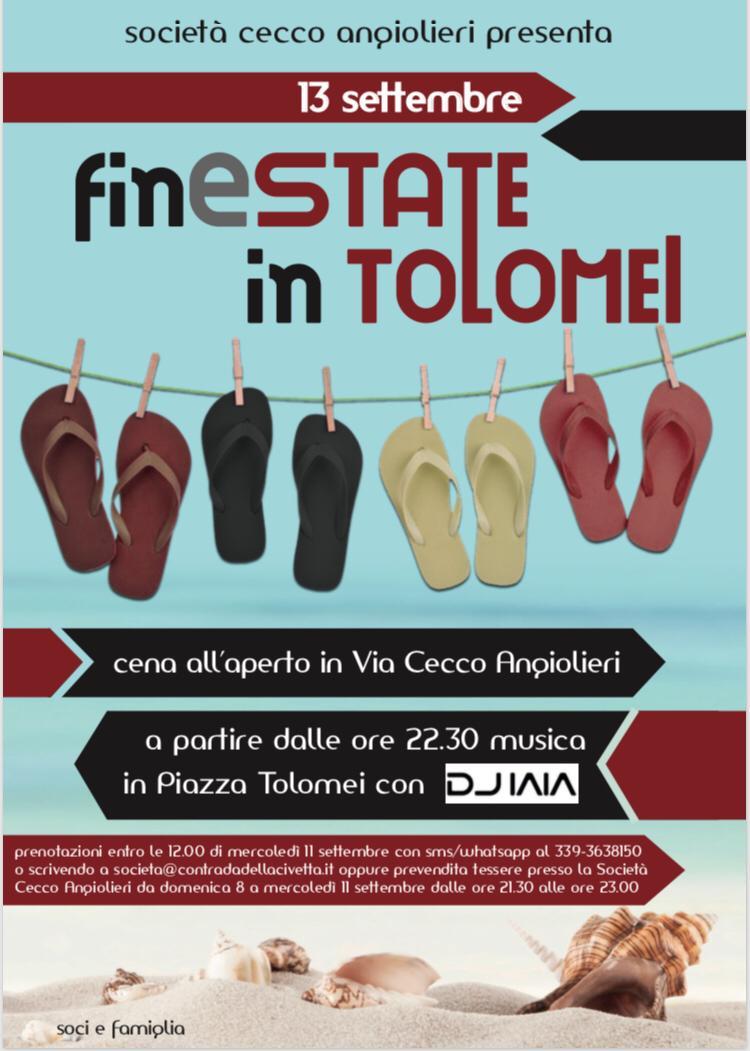 """Siena, Contrada della Civetta: 13/09 """"FinEstate inTolomei"""""""