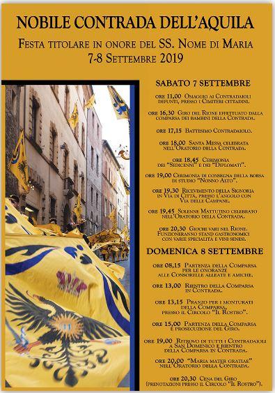 Siena, Contrada dell'Aquila: 07-08/09 Festa Titolare2019