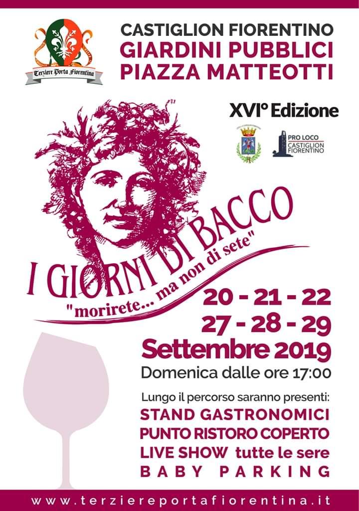 """Palio di Castiglion Fiorentino, Terziere Porta Fiorentina: 20-21-22-27-28-29/09 """"I Giorni di Bacco2019"""""""