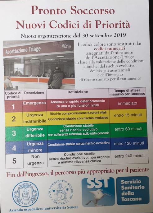 Siena: Pronto soccorso, dal 30 settembre i nuovi codici dipriorità