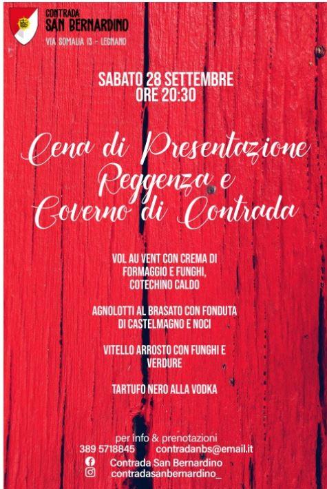 Palio di Legnano, Contrada San bernardino: 28/09 Cena di presentazione Reggenza & Governo diContrada
