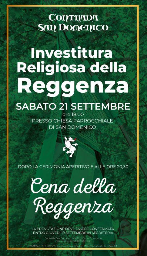 Palio di Legnano, Contrada San Domenico: Sabato 21/09 Investitura Religiosa Reggenza e a seguireCenino