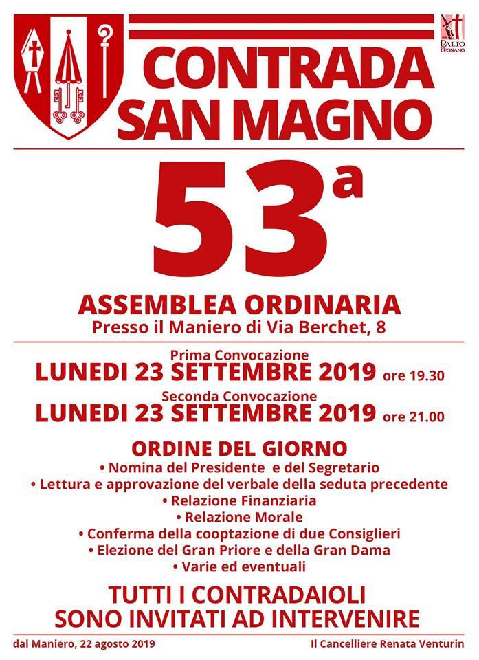 Palio di Legnano, Contrada San Magno: 23/09 53^ AssembleaOrdinaria