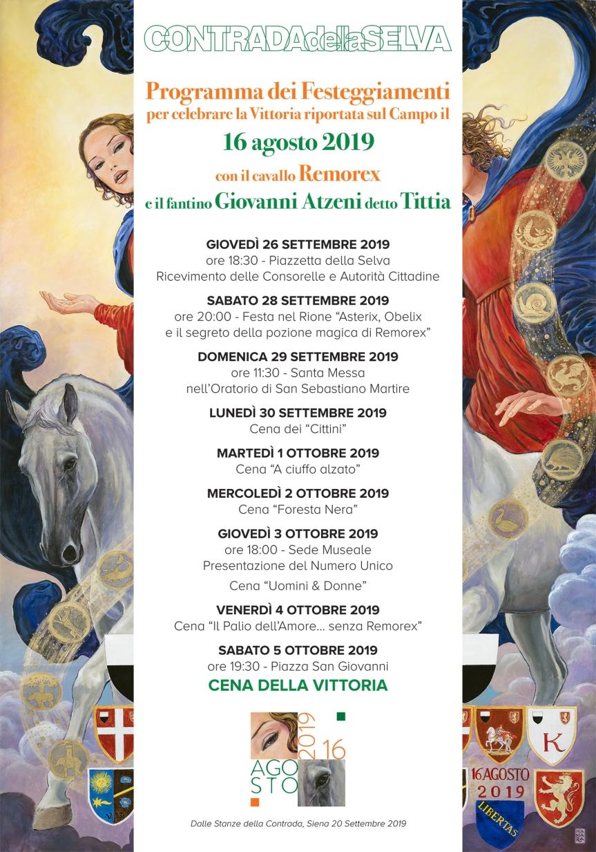 Siena, Contrada della Selva: 26-09-05/10 Programma Festeggiamenti della Vittoria del 16 Agosto2019