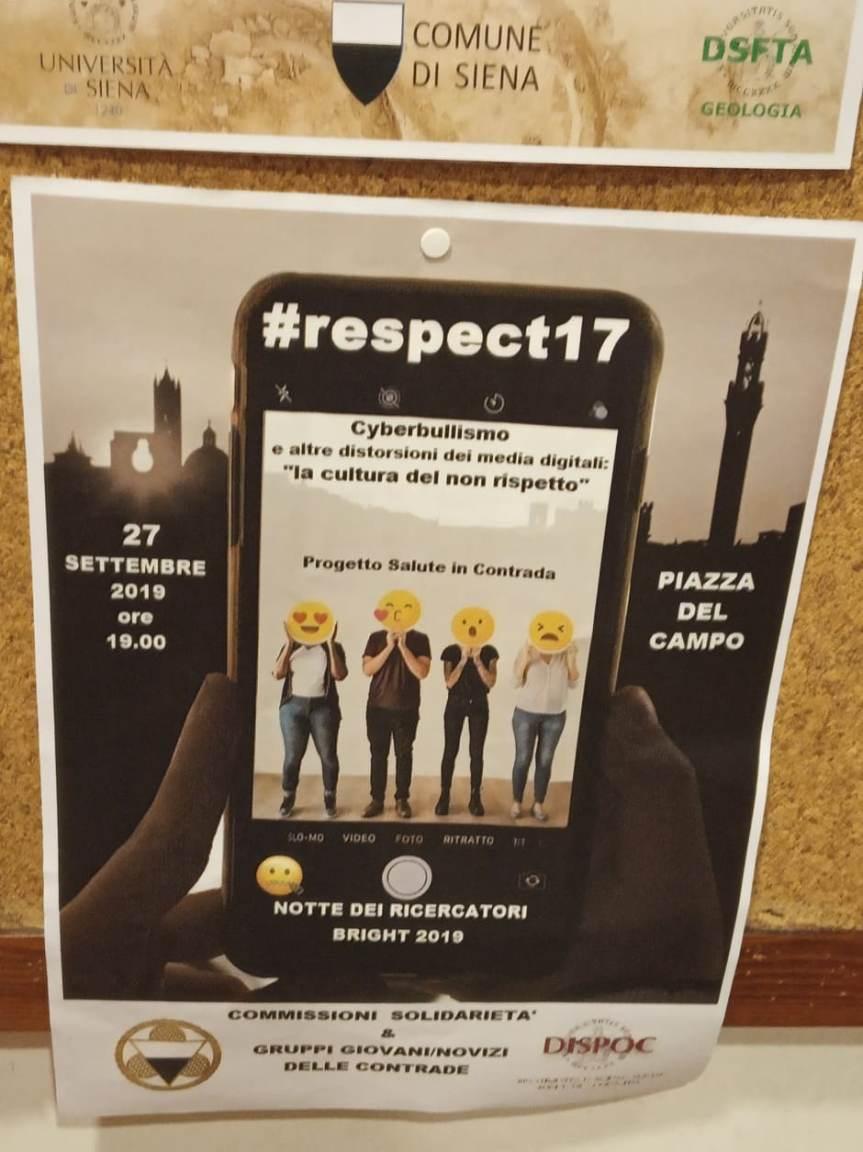 """Siena: Domani 27/09 ore 19.00 """"#Respect17"""" Cyberbullismo e altre distorsioni dei media digitali, """"la cultira del nonrispetto"""""""