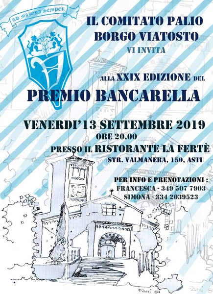 Palio di Asti, Comitato Palio Borgo Viatosto: 13/09 XXIX° PremioBancarella