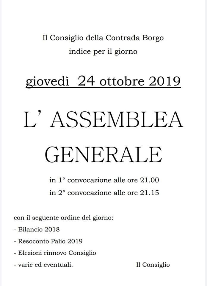 Palio di Castel del Piano, Contrada Borgo: 24/10 AssembleaGenerale