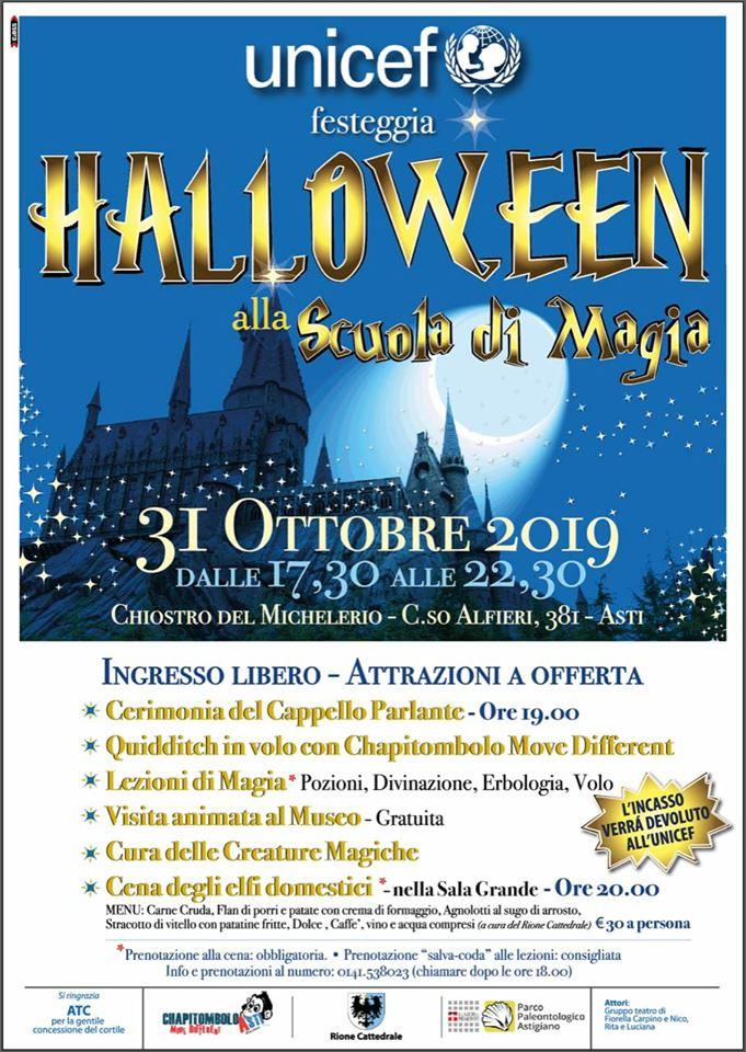 Asti: 31/10 Halloween alla Scuola di Magia organizzata dall'Unicef
