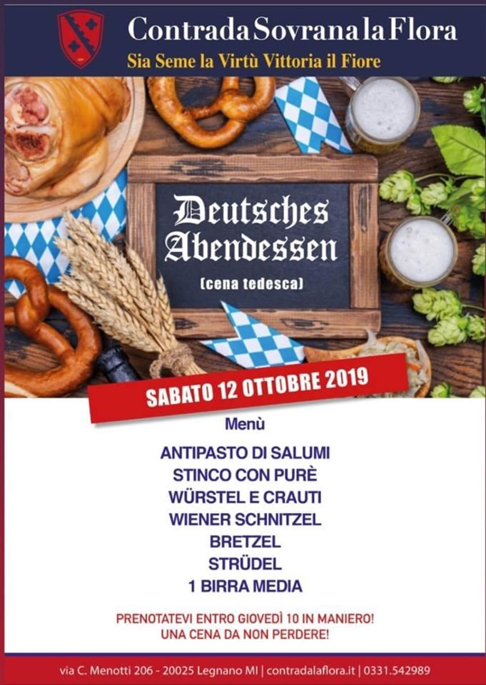 Paluio di Legnano, Contrada La Flora: Domani 12/10 Deutches Abendessen ( Cena Tedesca)