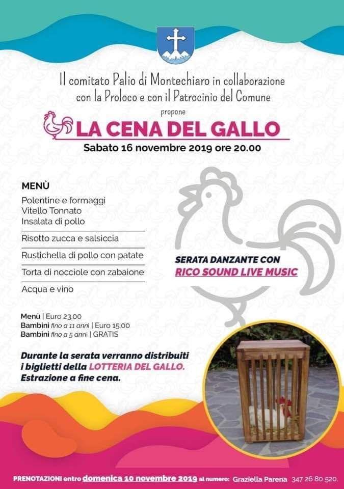 Palio di Asti, Comitato Palio Montechiaro: 16/11 Cena delGallo