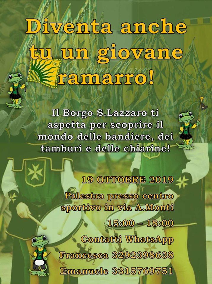 Palio di Asti, Comitato Palio Borgo San Lazzaro: 19/10 Diventa un giovane ramarro anchetu!