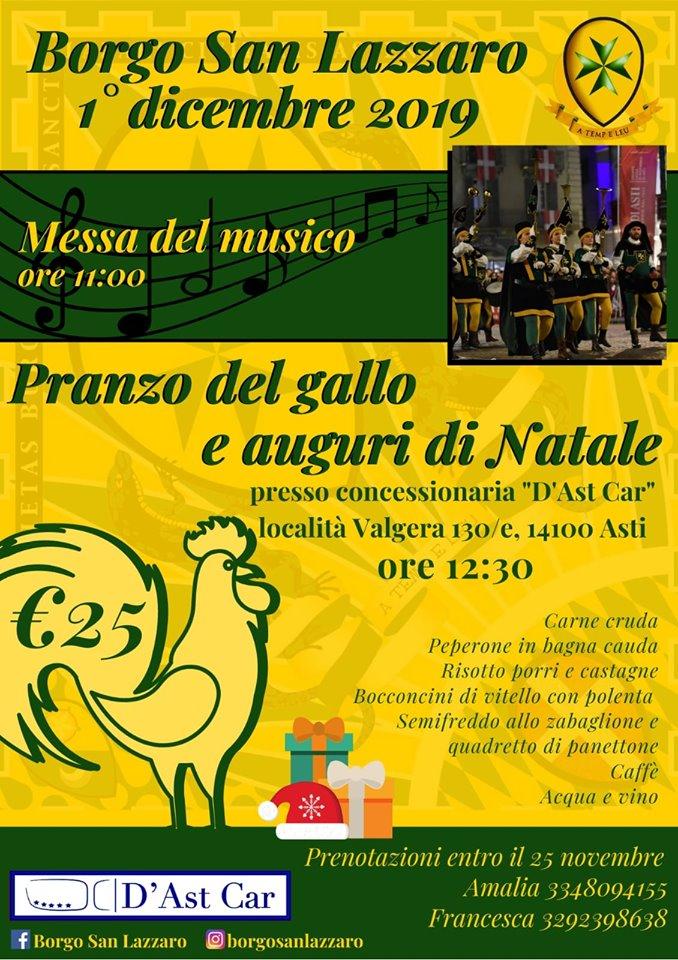 Palio di Asti, Borgo San Lazzaro: 01/12 ore 11.00 Messa del Musico, ore 12.30 Pranzo del Gallo e Auguri dinatale