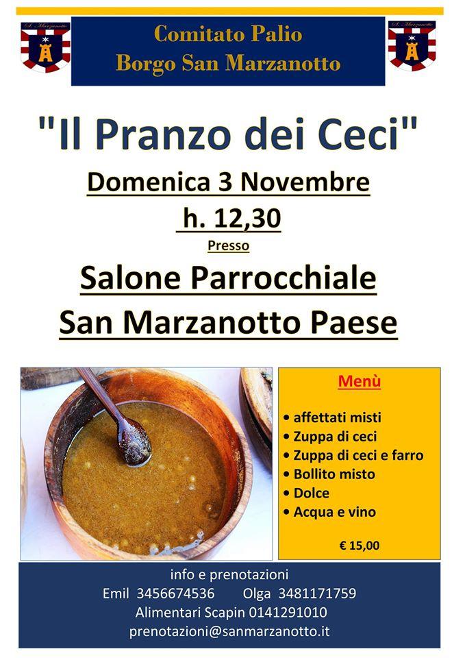 """Palio di Asti, Comitato Palio San Marzanotto: 03/11 """"Il Pranzo deiCeci"""""""