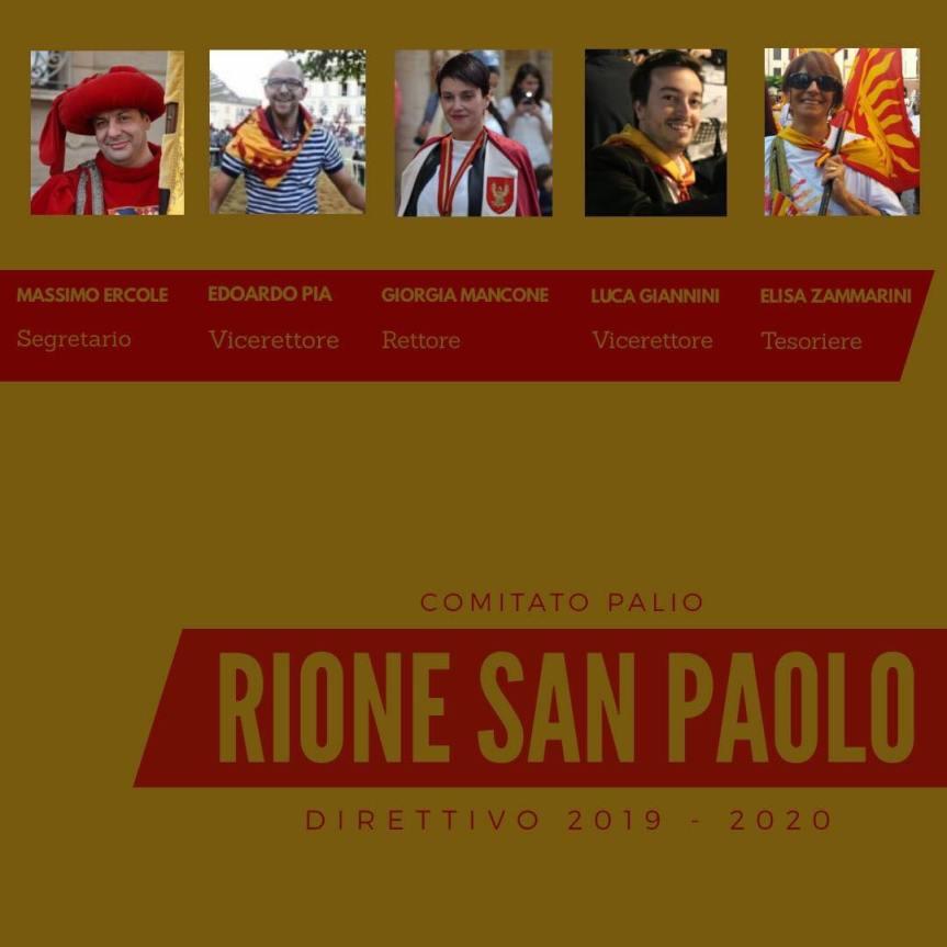 Palio di Asti, Rione San Paolo: Eletto il Direttivo2019-2020