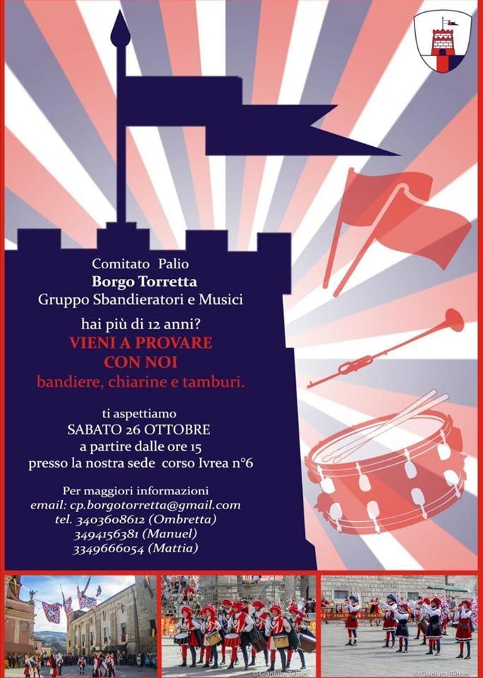 """Palio di Asti, Borgo Torretta: 26/10 Open Day """"Vieni a provare connoi"""""""