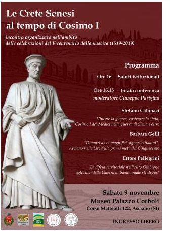 """PROVINCIA DI SIENA: 09/11 ASCIANO, CONFERENZA """"LE CRETE SENESI AL TEMPO DI COSIMOI"""""""