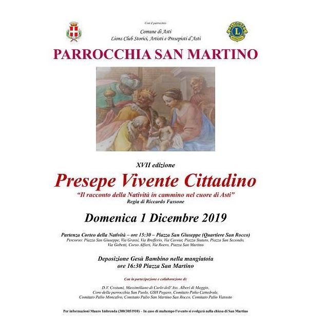 Asti: Domani 01/12 Il presepe vivente della Parrocchia di San Martino porta il Natale nel centro diAsti