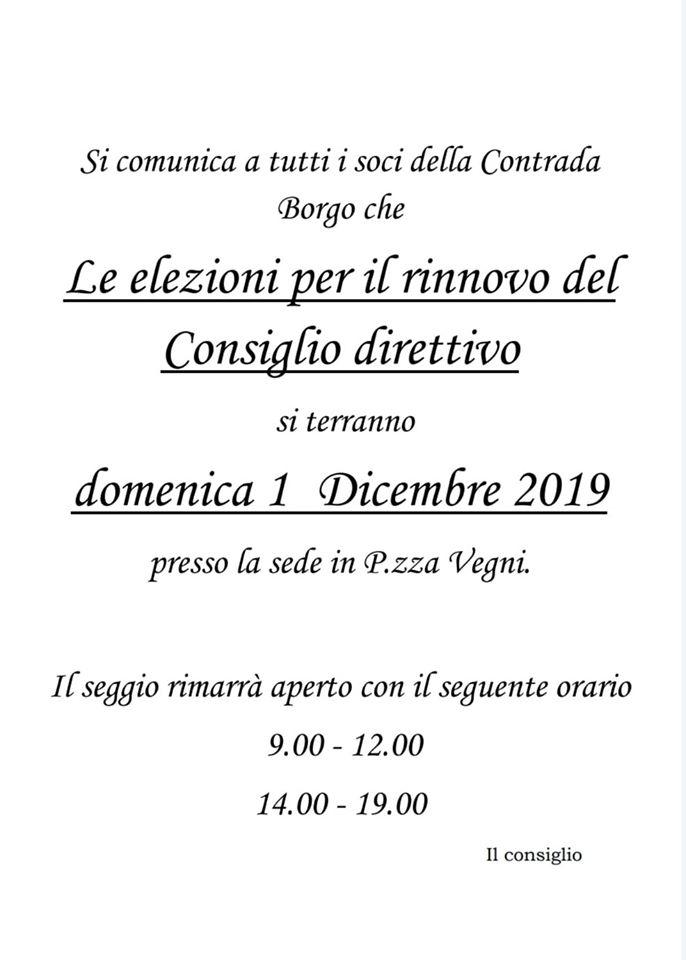 Palio di Castel del Piano, Contrada Borgo: 01/12 Elezioni Consiglio2019