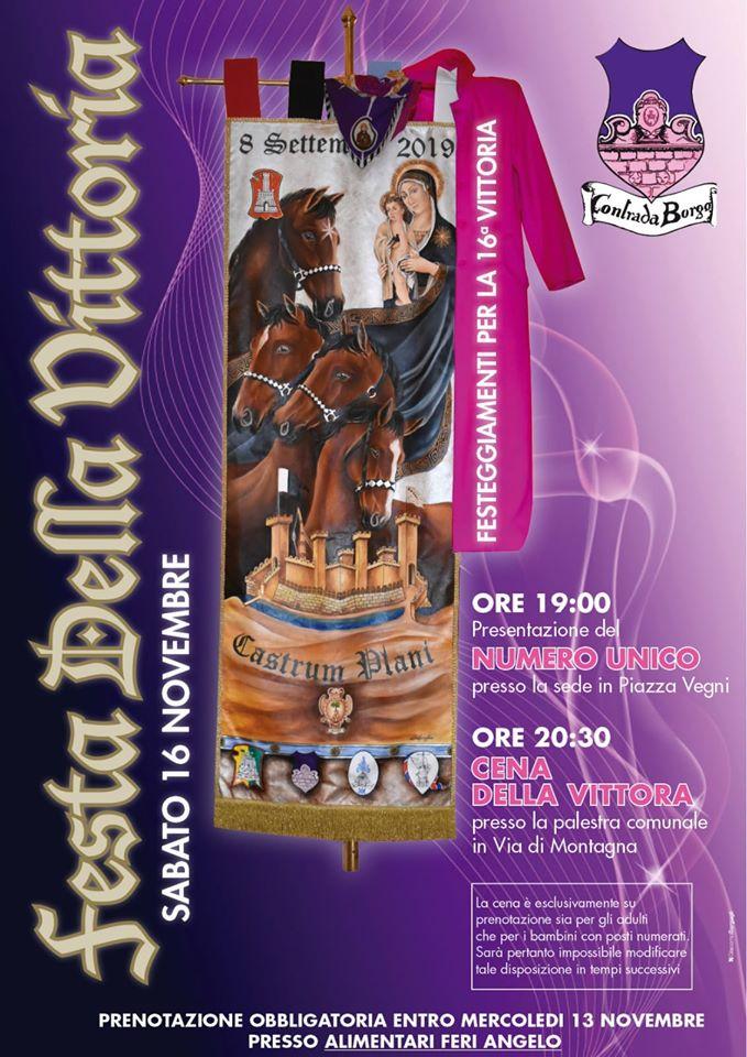 Palio di Castel del Piano, Contrada Borgo: Oggi 16/11 dalle ore 19.00 Festa dellaVittoria