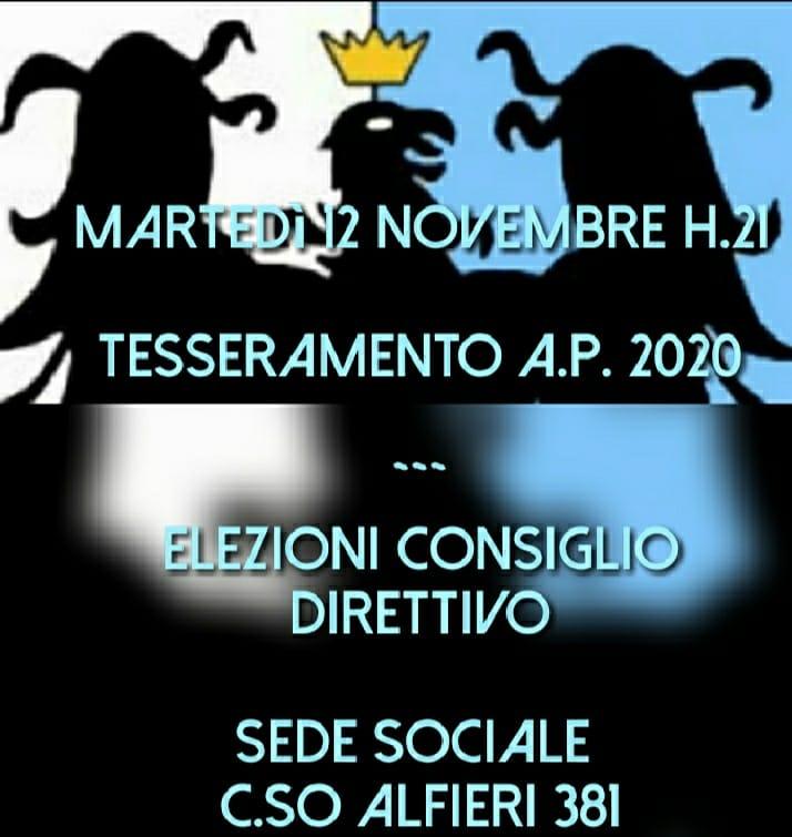 Palio di Asti, Comitato Palio Rione Cattedrale: 12/11 ore 21.00 Tesseramento Anno Paliesco 2020 e Elezione ConsiglioDirettivo