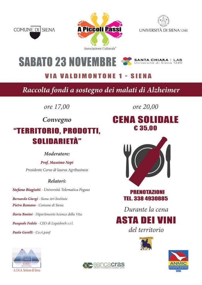 Siena:  Oggi 23/11 Al Santa Chiara Lab un convegno, una cena solidale e vini all'asta per i malati diAlzheimer