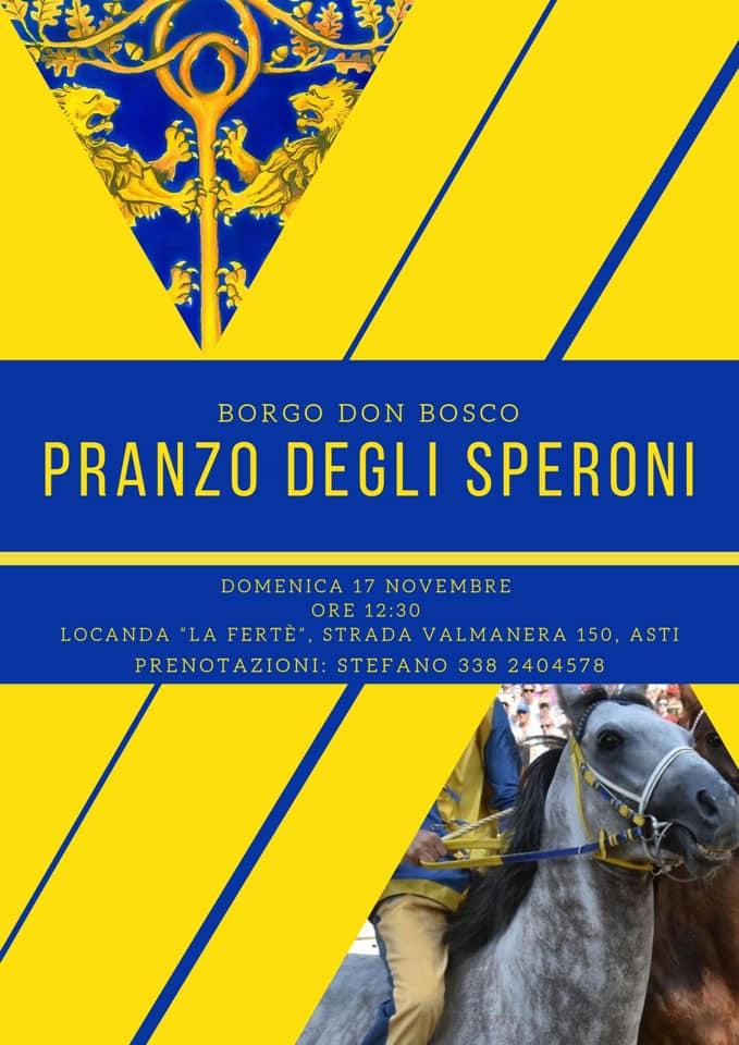 """Palio di Asti, Comitato Palio Borgo Don Bosco: 17/10 """"Pranzo degliSperoni"""""""