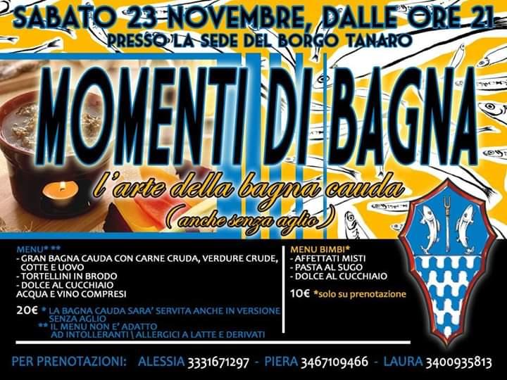 """Palio di Asti, Comitato Borgo Palio Tanaro-Trincere-Torrazzo: 23/11 """"Momenti diBagna"""""""
