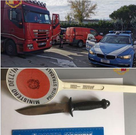 Provincia di Siena: La stradale becca tir taroccato e una persona con in auto uncoltello