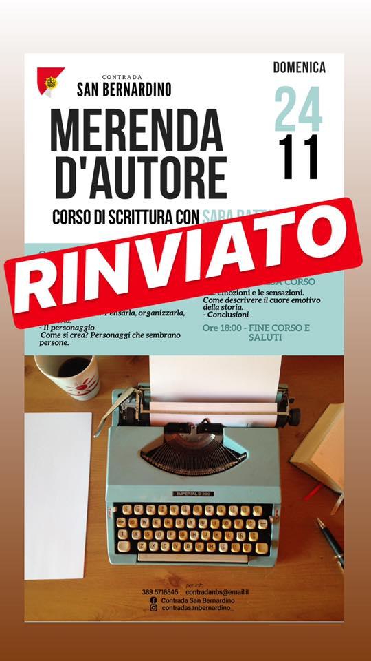Palio di Legnano, Contrada San Bernardino: Domani 24/11 Rinviato Merenda d'Autore, corso di scrittura con SaraRattaro