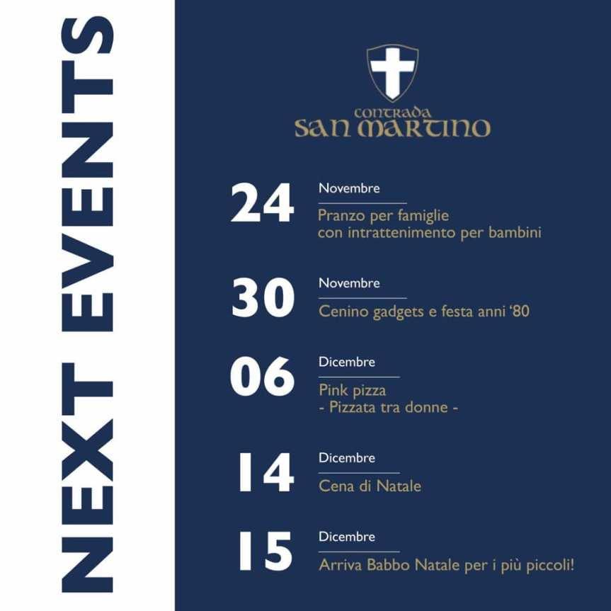 Palio di Legnano, Contrada San Martino: Gli Eventi in Contrada fino al15/12