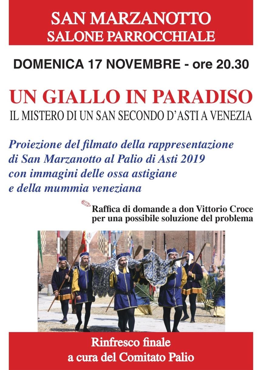"""Palio di Asti: 17/11 A San Marzanotto """" Un Giallo inParadiso"""""""