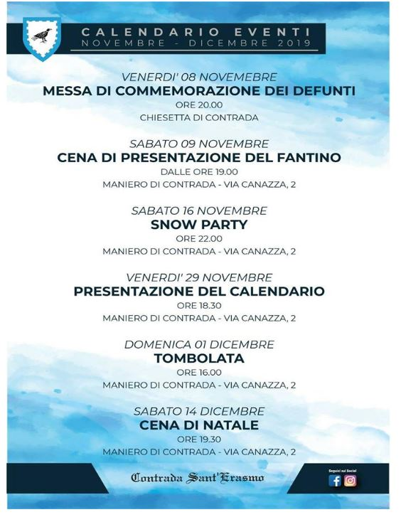 Palio di Legnano, Contrada Sant'Erasmo: Eventi Mesi Novembre-Dicembre 2019
