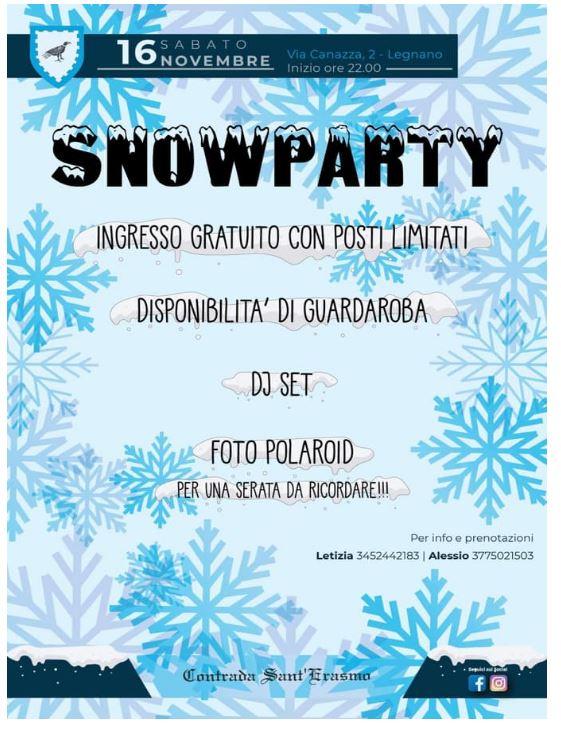 """Palio di legnano, Contrada  Sant'Erasmo: 16/11 """"SnowParty"""""""