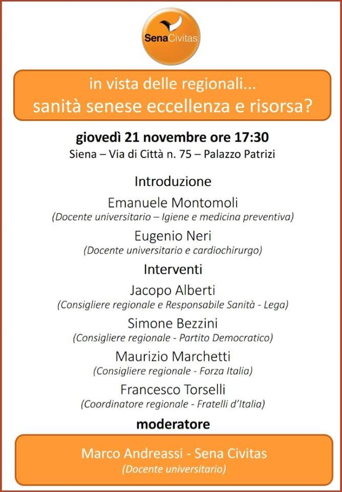 "Siena, Sena Civitas: 21/11 ""Sanità senese eccellenza o risorsa?"", dibattito a palazzoPatrizi"