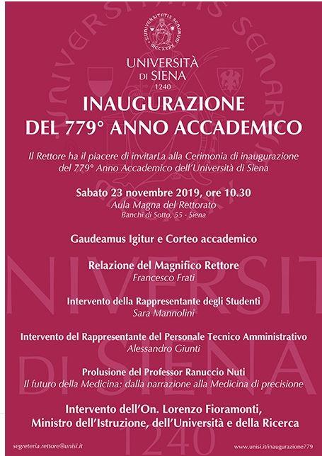 Siena: Oggi 23/11 Inaugurazione del 779° anno accademico all'Università di Siena. Ospite il ministro LorenzoFioramonti