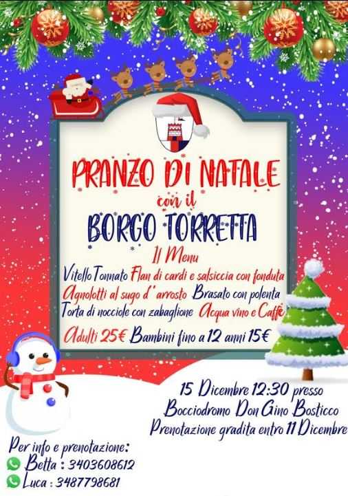Palio di Asti, Comitato Palio Borgo Torretta: Comunicato Stampa sulla Cena degli Auguri del15/12