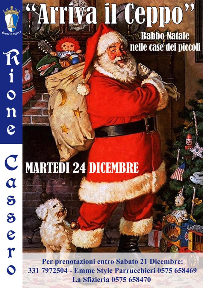 """Palio di Castiglion Fiorentino, Rione Cassero: 24/12 """"Arriva il Ceppo"""" Babbo Natale nelle case dei piccoli. Dicembre Casserino2019"""